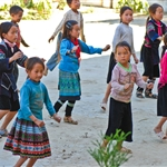young hmong at school at village in Sapa