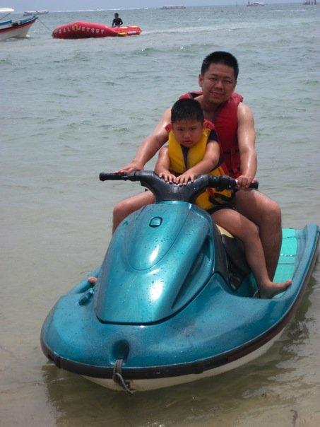 It was a rough ride. It was very windy. Bryan was soaking wet. They need to pave the road for the jetski. :)