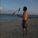 Juggling on the beach at Playa del Carmen.