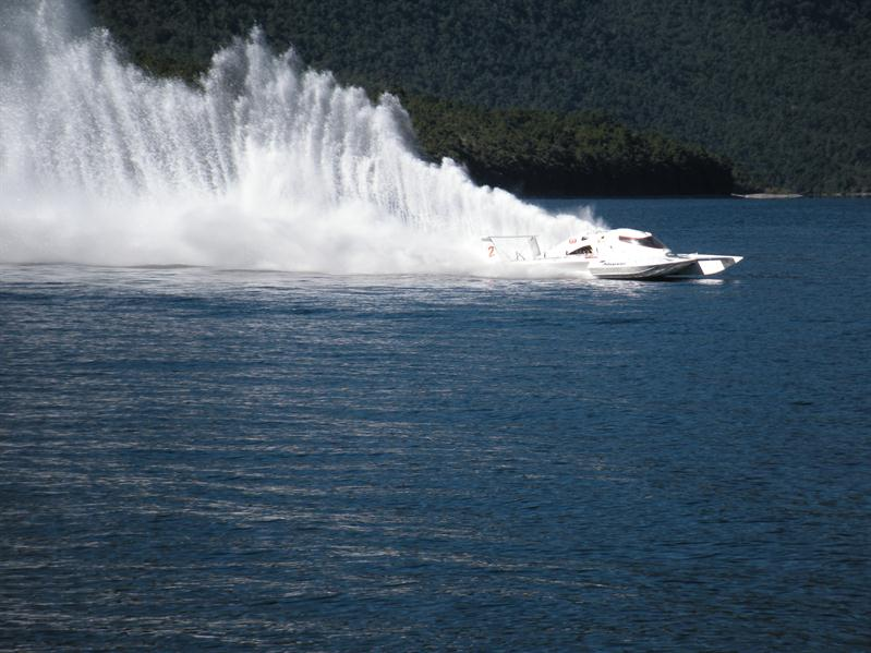 A pawer boat on Lake Rotoiti
