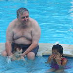 """""""Uncle Colin"""" with Amy and Kath- Rex Hotel Pool Vung Tau"""