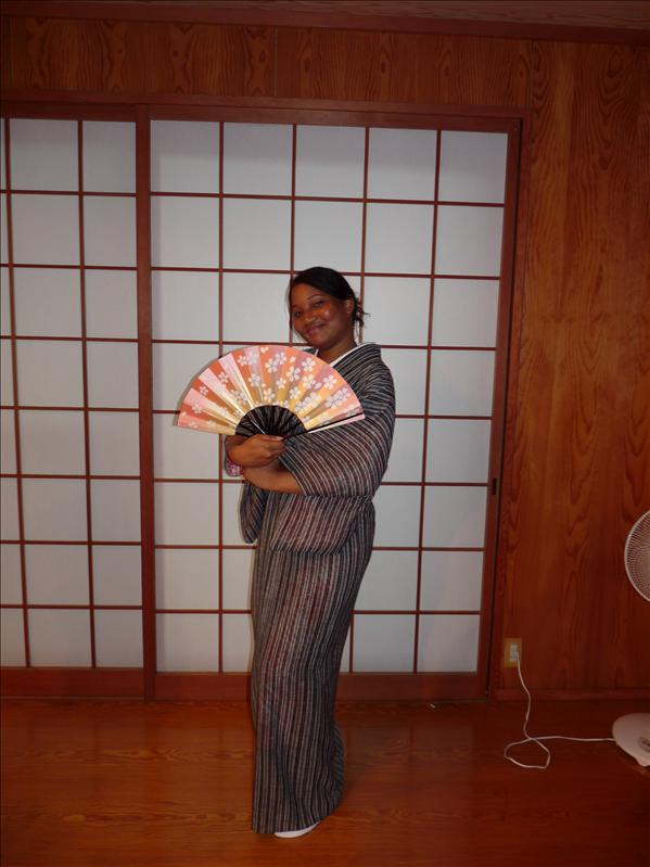 me in kimono with fan