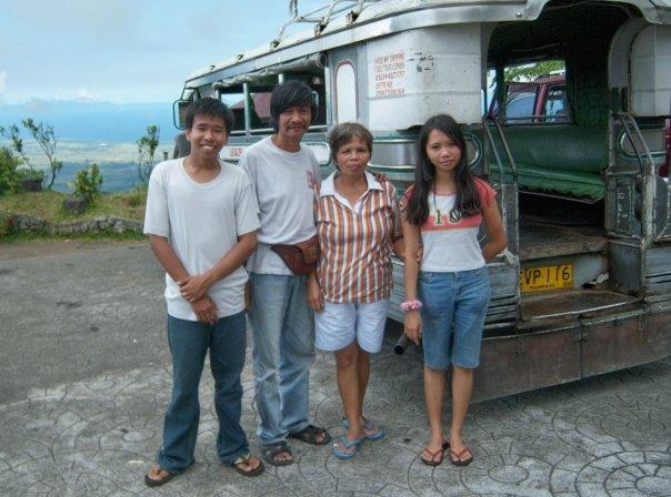 PHILIPPINE FAMILY AND THEIR JEEPNEY, MOUNT MAYON