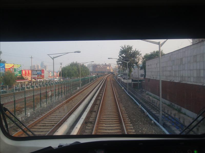 Looking out of the front of the metro