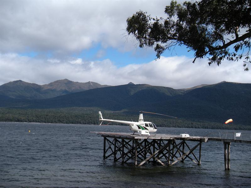 Helicopter on the lake at Te Anau