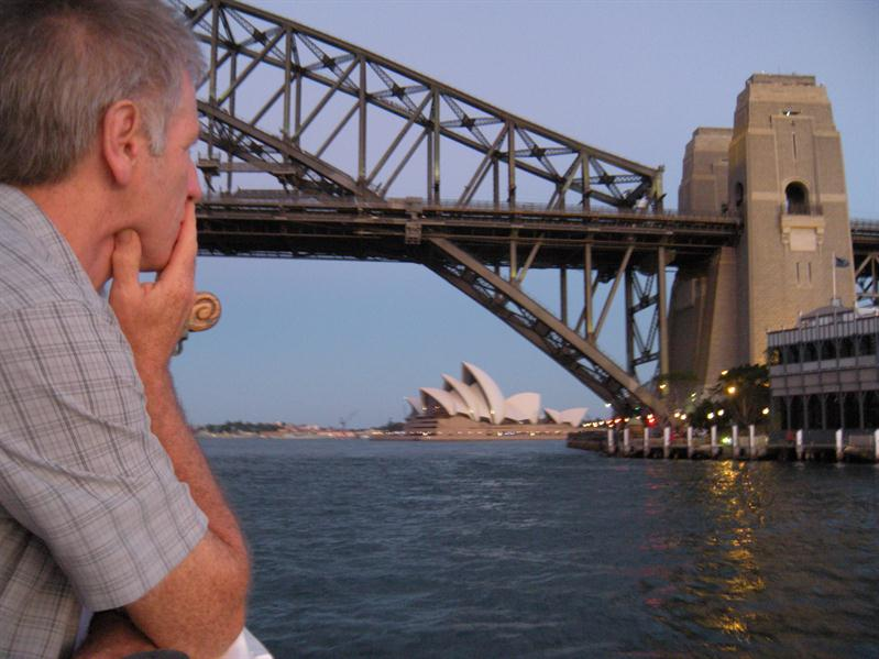 Pete looking at the opera house under the Harbour Bridge from the tallship