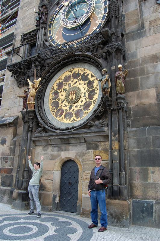 Matt in front of Astronomical Clock - Prague