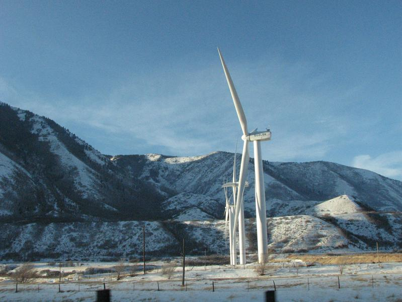 Windmills at the base of Spanish Fork Canyon