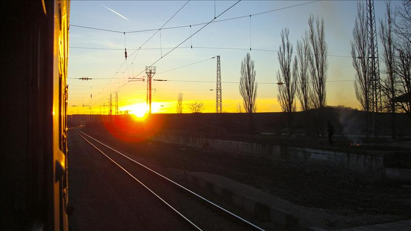 Sunset from the train
