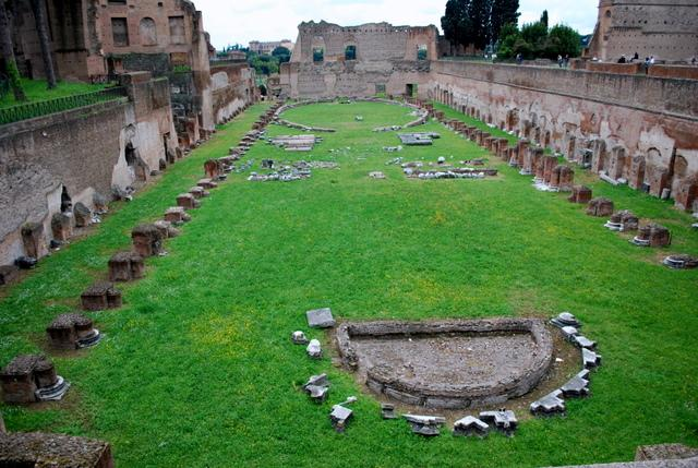 Remains of the stadium on Palatine Hill