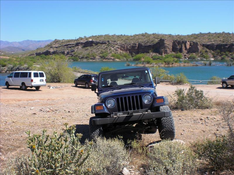"Lake Pleasant. last spot with cell service/experiments in ""creative parking"".  Watch the vids to catch that fan smash its axle in Orobelle."