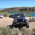 """Lake Pleasant. last spot with cell service/experiments in """"creative parking"""".  Watch the vids to catch that fan smash its axle in Orobelle."""