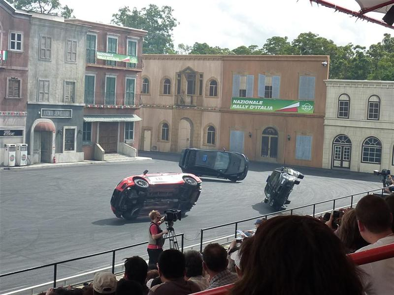 The stunt driving show at Movie World