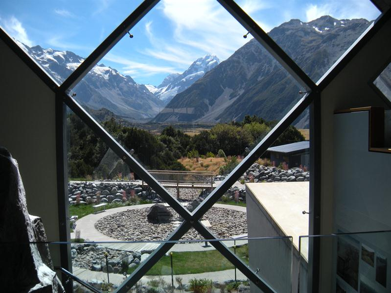 The beautiful view through the window in the information centre at The Hermitage at Mount Cook