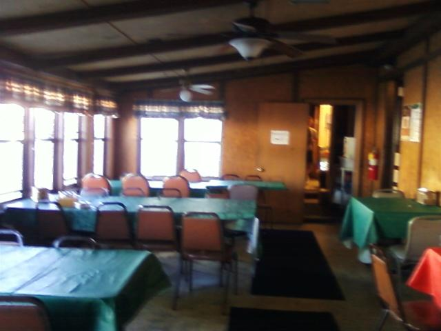 inside view of the covered porch dining area