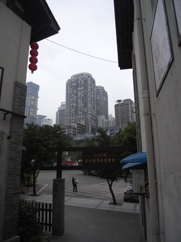 view from ancient part of chongqing near hostel