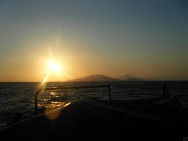 sunset from the boat out to isla ometepe