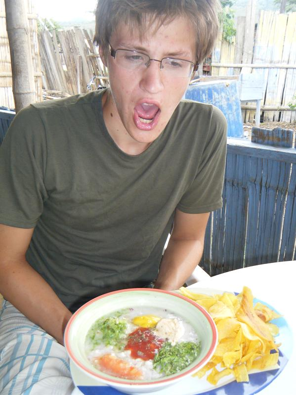 ceviche, tastes very bad, but john seems to like it