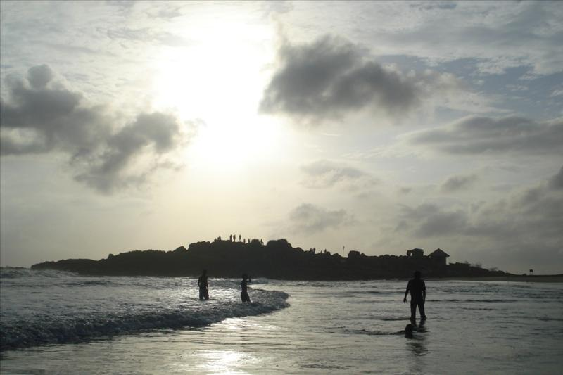 sunset at kovalam beach