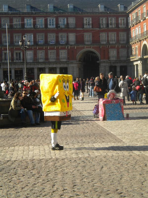 plaza mayor with sponge bob