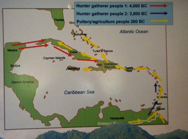 This map  shows the routes of the Arawak and Caribs. Arawaks in the North were first to find the invadors and discover their ruthless ways.  They escaped in dugouts and warned neighbours to the south, who in turn took to dugouts to warn neighbours further south.