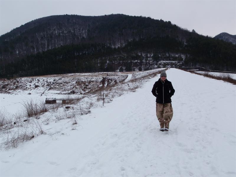 J taking a dam walk