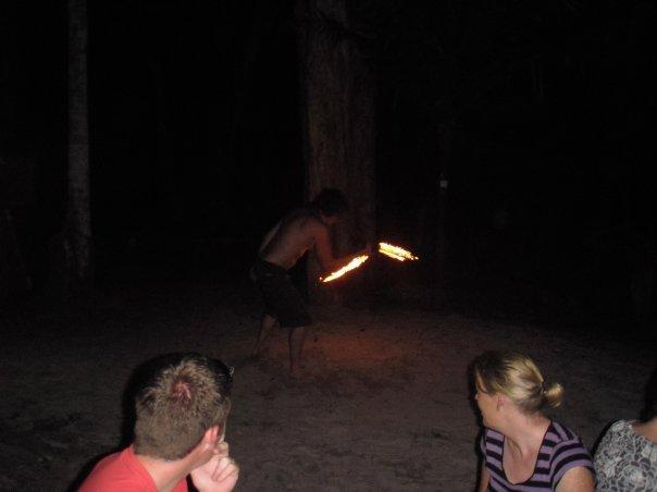 A drunk fire acrobat - kids, dont try this one at home!