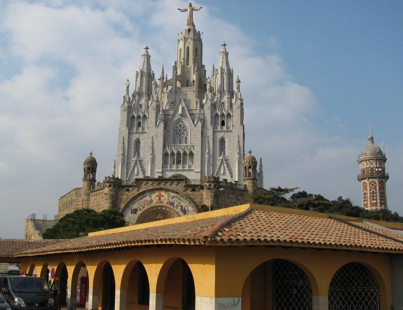 Mount Tibidabo above Barcelona.