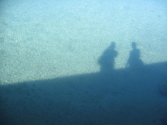 me and dad's shadow in the water