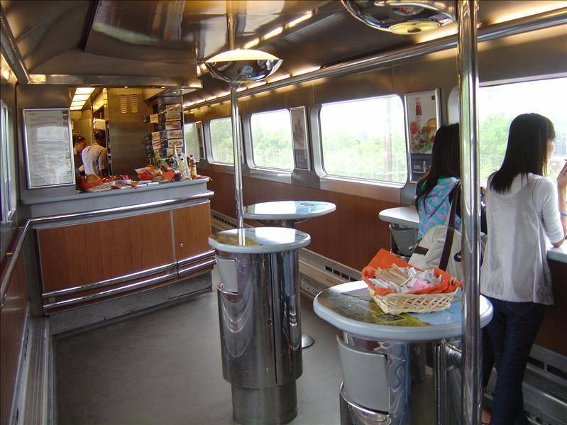 Snack bar inside the train