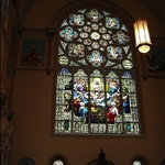 this west facing stained glass window is one of two like it in size