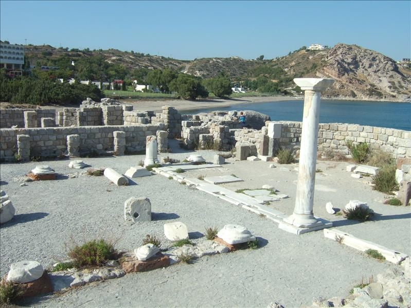 The Ruins of the Basilica of St. Stephen on the Beach at Kefalos Bay