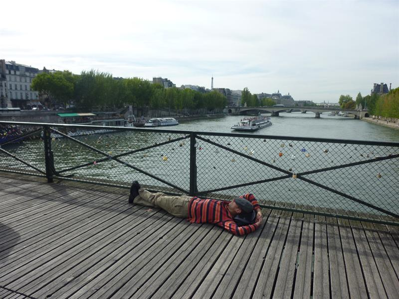 man sleeping on the lock bridge :D