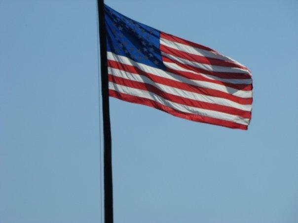 This flag only has about 36 stars on it. I couldn't get the wind to cooperate to count them.