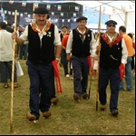 At the cheese festive we saw men on stilt clogs...