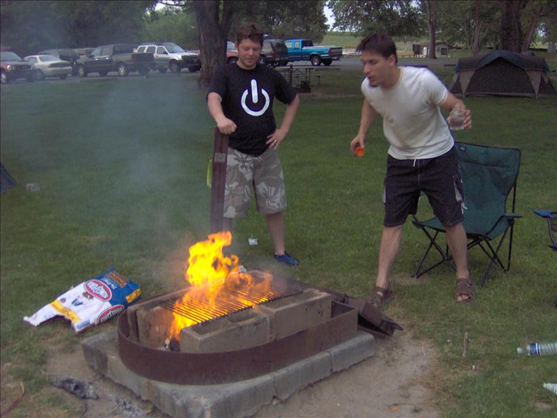 Me and Al taking turns spitting 200 proof alcohol into the fire (synthesized in the lab he works in)