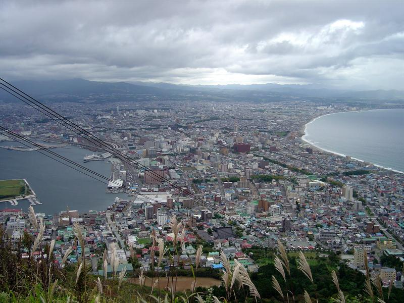 view of the Hakodate city from the summit of the hill