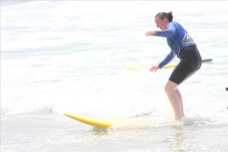 Learning to surf at Surfers Paradise.