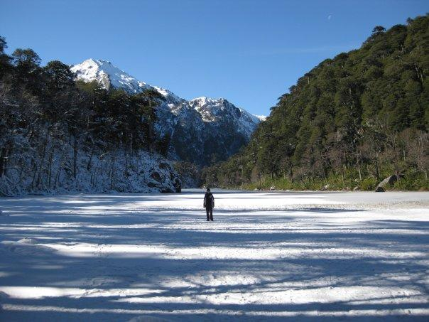 Huerquehue National Park- Laura on a frozen lake
