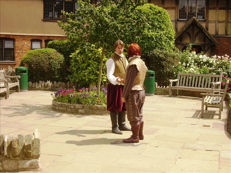 Actors performing outside Shakespeare's Birthplace