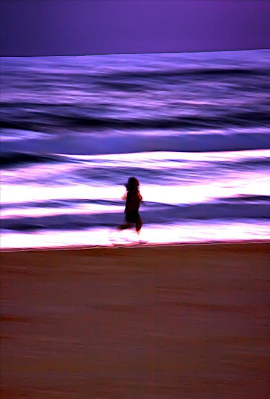 A little jog on a beach