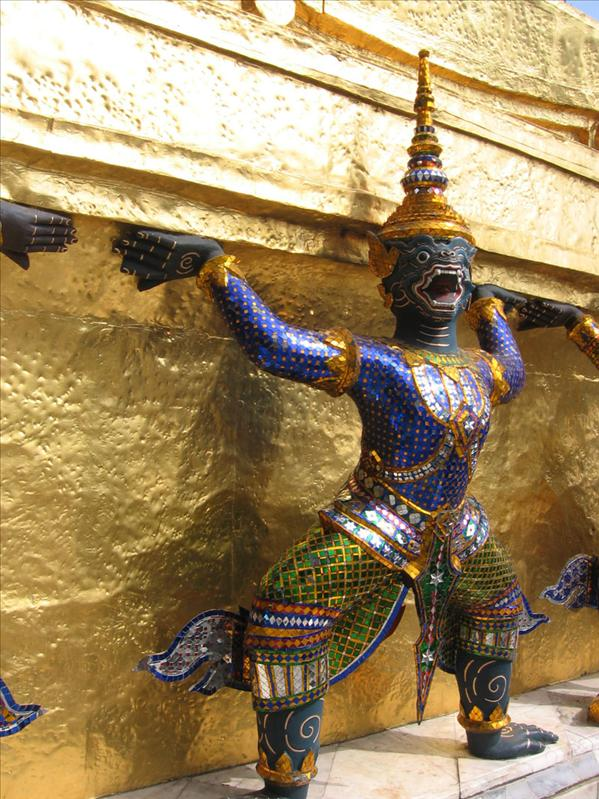 Temple figure in Thailand - many spirits are seen as animals crossed with man.