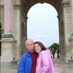 In front of the Louvre by the pink columns