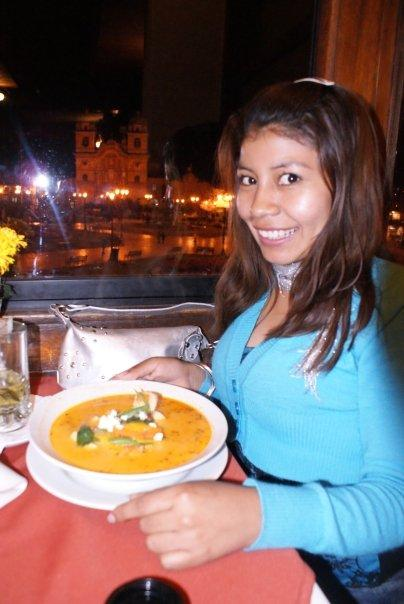 Our friend Carla enjoying her soup.