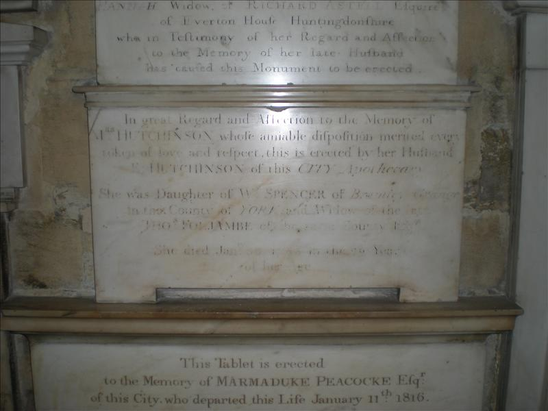 Plaque honoring a Hutchinson - Bath Abbey - 27th May