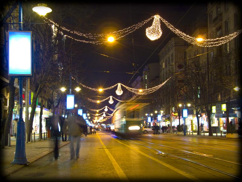 Vitosha Boulevard in the night