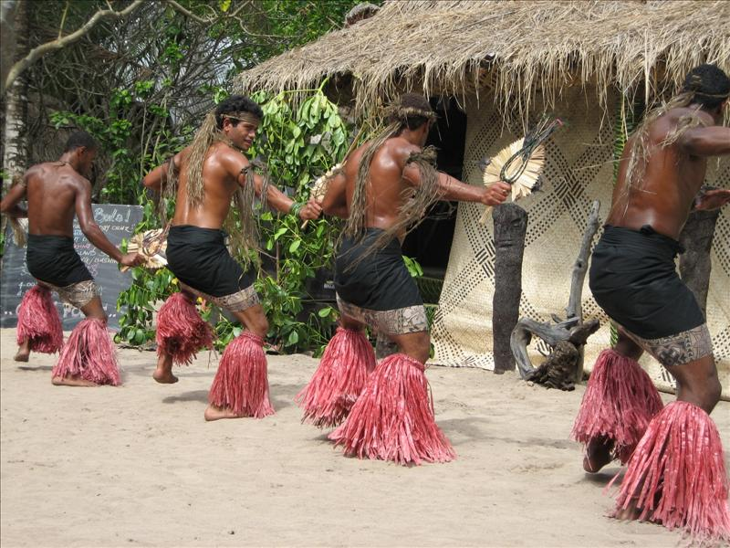Fijian men shaking their booty
