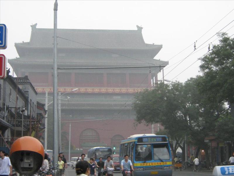 bell tower in modern  beijing