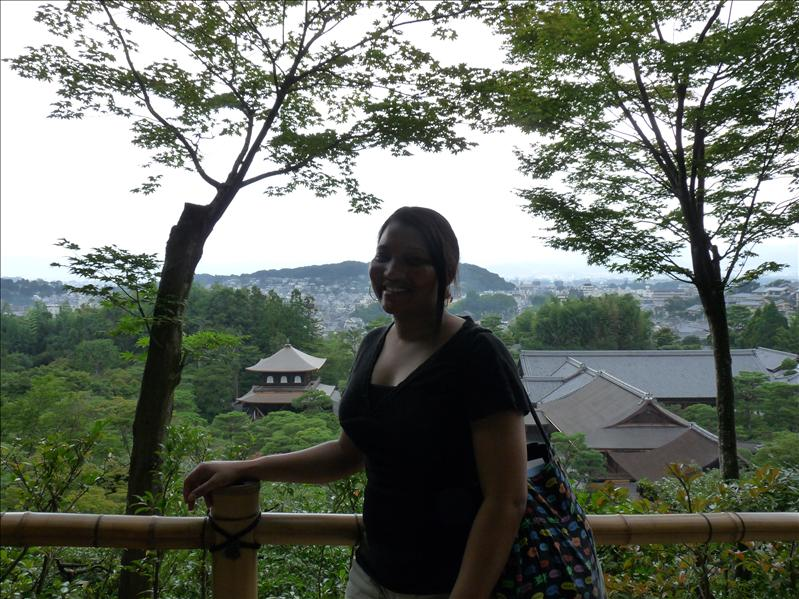 at the top of ginkakuji temple