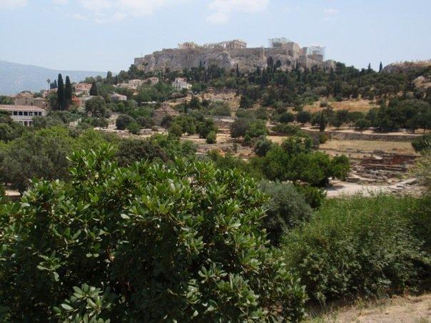 view of the acropolis from the temple of hephaestus.